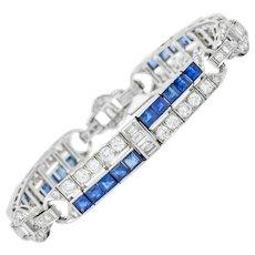 Art Deco 9.50 CTW Diamond Sapphire Platinum Geometric Linked Line Bracelet