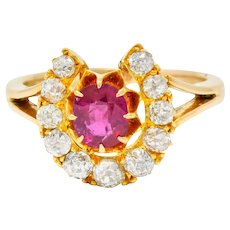 Victorian 2.10 CTW Ruby Diamond 15 Karat Gold Horseshoe Cluster Ring