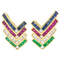 1980s Vintage 5.92 CTW Emerald Ruby Sapphire Diamond 18 Karat Gold Chevron Earrings