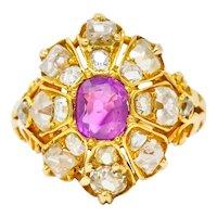 Victorian 3.10 CTW Ruby Diamond 18 Karat Gold Cluster Ring