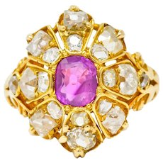 Victorian 3.10 CTW Ruby Diamond 18 Karat Gold Cluster Ring