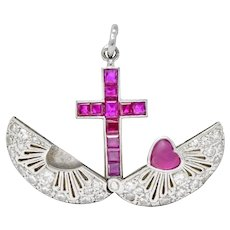 Late Edwardian Ruby Diamond Platinum Sacred Heart Cross Articulated Charm