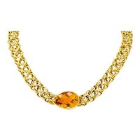 Paloma Picasso Tiffany & Co. Citrine 18 Karat Yellow Gold Mesh Collar Necklace