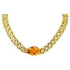 Paloma Picasso Tiffany & Co. Citrine 18 Karat Yellow Gold Mesh Collar Necklace