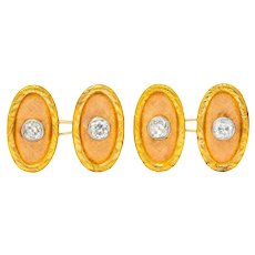 Tiffany & Co. Edwardian 2.40 CTW Diamond 18 Karat Gold Men's Cufflinks