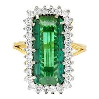 Retro 7.00 CTW Diamond Green Tourmaline Platinum 14 Karat Gold Cluster Ring