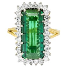 Retro 7.00 CTW Diamond Green Tourmaline Platinum 14 Karat Gold Cluster Ring