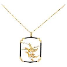Carrera Y Carrera 1.00 CTW Diamond Onyx Pearl 18 Karat Two-Tone Gold Goose Pendant Necklace