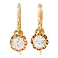 Victorian 0.95 CTW Old European Diamond 14 Karat Rose Gold Drop Earrings