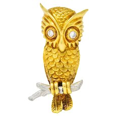 Hammerman Bros. French Diamond Platinum 18 Karat Gold Owl Vintage Brooch