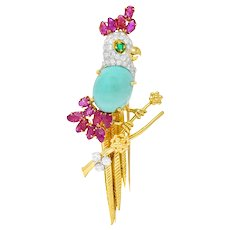 Retro Diamond Ruby Turquoise Emerald 18 Karat Gold Cockatoo Bird Brooch