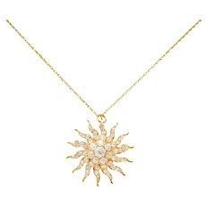 Edwardian 3.10 CTW Diamond 14 Karat Gold Radiant Sunburst Pendant Brooch Necklace