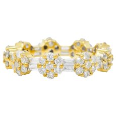 Contemporary 2.50 CTW Diamond 18 Karat Gold Cluster Eternity Band Ring