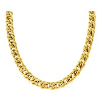 Substantial Tiffany & Co. Vintage 18 Karat Yellow Gold 30 Inch Curbed Link Necklace