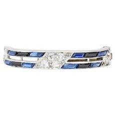 Cartier Art Deco Sapphire Diamond Platinum Unisex Tie Lapel Pin Brooch