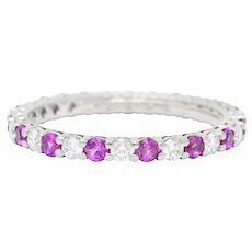 Tiffany & Co. 1.05 CTW Diamond Pink Sapphire Platinum Eternity Band