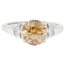 Contemporary 2.75 CTW Fancy Colored Diamond Platinum Engagement Ring GIA