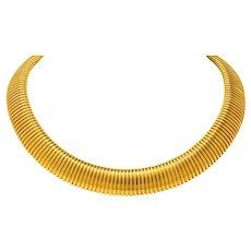Carlo Weingrill Vintage Italian 18 Karat Yellow Gold Tubogas Collar Necklace