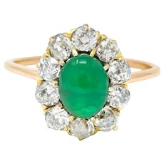 Victorian 2.10 CTW Emerald Diamond 14 Karat Gold Cluster Ring
