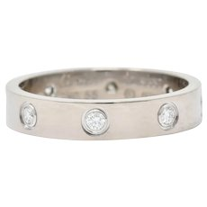 Cartier Love Diamond 18 Karat White Gold Unisex Stacking Band Ring