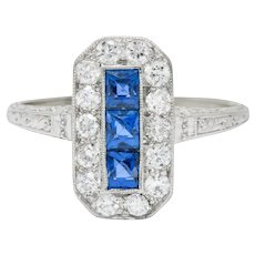 Tiffany & Co. Art Deco Sapphire Diamond 18 Karat White Gold Dinner Ring