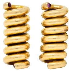 Cartier Retro Ruby 18 Karat Gold Spiral Men's Cufflinks Circa 1940s
