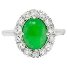 Retro Diamond Jadeite Jade Cabochon Platinum Cluster Ring Circa 1940s