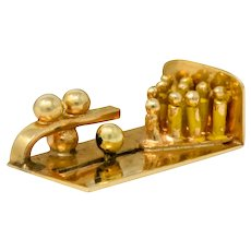 Retro 14 Karat Gold Articulated Bowling Lane Charm