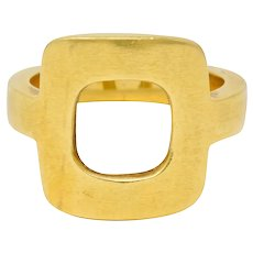 Dinh Van Cartier Modernist 18 Karat Yellow Gold Cushion Ring