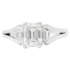 Modern 1.60 CTW Emerald Cut Diamond Platinum Engagement Ring GIA