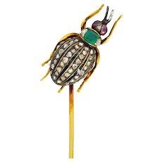 Victorian Emerald Enamel Diamond Ruby 14 Karat Gold Weevil Beetle Insect Stickpin