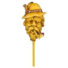 Art Nouveau Pink Sapphire Rose Cut Diamond 18 Karat Gold Wise Man Stickpin