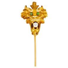 Wordley Alsopp & Bliss Diamond Demantoid Garnet 14 Karat Gold Tiger Stickpin