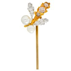 Edwardian Diamond Pearl Platinum-Topped 18 Karat Gold Foliate Stickpin