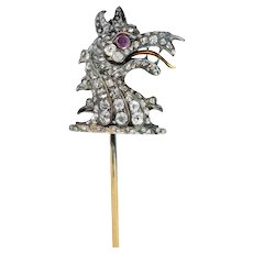 Victorian Rose Cut Diamond Silver-Topped 14 Karat Gold Dragon Stickpin