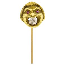 French Victorian 0.21 CTW Old Mine Diamond 18 Karat Green Gold Comedy Mask Stickpin