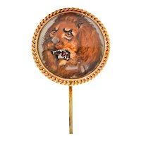 Late Victorian Painted Reverse Carved Rock Crystal 14 Karat Gold Lion Stickpin