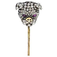 Victorian Rose Cut Diamond Silver-Topped 10 Karat Gold Bulldog Stickpin