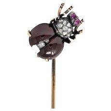 Victorian Garnet Diamond Ruby Silver-Topped 18 Karat Gold Fly Insect Stickpin