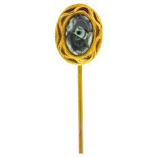 Art Nouveau Seraphinite Cabochon 14 Karat Gold Stickpin Circa 1905