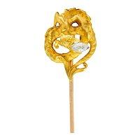 French Art Nouveau Marquis Diamond 18 Karat Gold Serpentine Dragon Stickpin