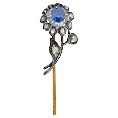 Victorian Sapphire Diamond Silver-Topped 14 Karat Gold Flower Stickpin