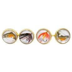 Marcus & Co. Victorian Painted Carved Rock Crystal 14 Karat Gold Men's Fishing Cufflinks