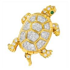 McTeigue Vintage 2.20 CTW Diamond Emerald Platinum-Topped 18 Karat Gold Turtle Pendant Brooch