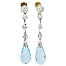 Edwardian Diamond Aquamarine Briolette Platinum Drop Earrings