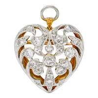 Edwardian 0.90 CTW Diamond Platinum-Topped 14 Karat Gold Heart Pendant Brooch