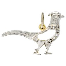Edwardian Diamond Platinum-Topped 18 Karat Gold Pheasant Bird Charm