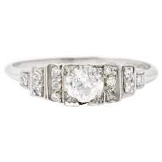 Art Deco 0.60 CTW Diamond Platinum Engagement Ring Circa 1930