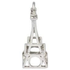 Art Deco Platinum Eiffel Tower Charm Circa 1930