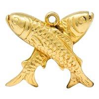 Art Nouveau 14 Karat Gold Crossed Fish Pisces Zodiac Charm